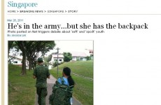 Singapore soldier branded a 'softie' for letting his maid carry his bag