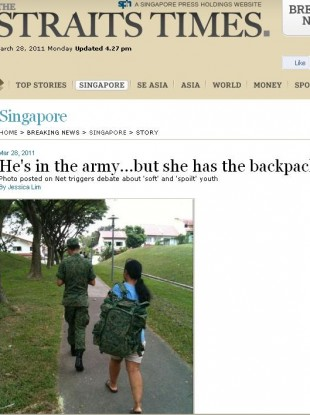 The incident was widely covered by Singapore media