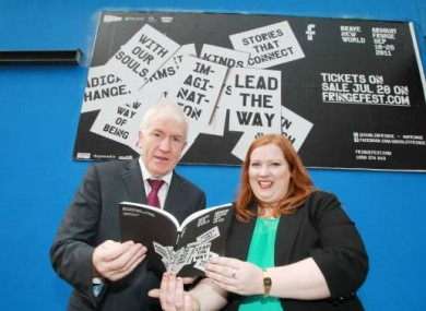 Arts Minister Jimmy Deenihan with Fringe Fest Director Roise Goan in Temple Bar today.