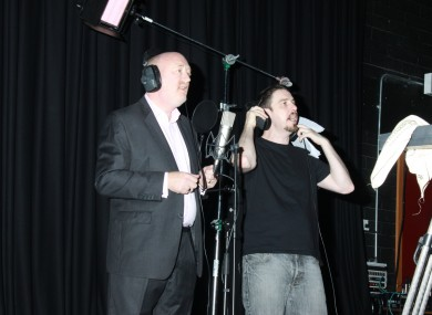 Fine Gael TD Derek Keating gets in tune at the recording of the single at the weekend