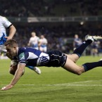 Leinster's Luke Fitzgerald scores a try against Bath at the Aviva Stadium on Saturday.