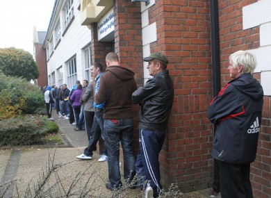 A dole queue at a social welfare centre in Finglas, Dublin (File photo)