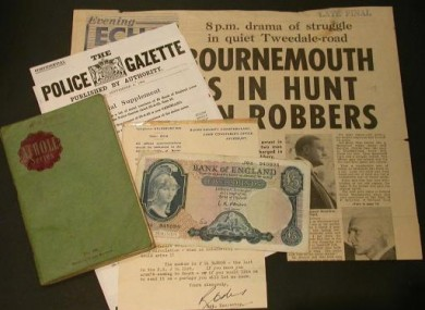Pictures from George Kidner auctioneers of memorabilia relating to the 1963 Great Train Robbery.
