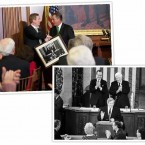 The Taoiseach is presented with a picture of Garret FitzGerald addressing the US Congress in 1984.