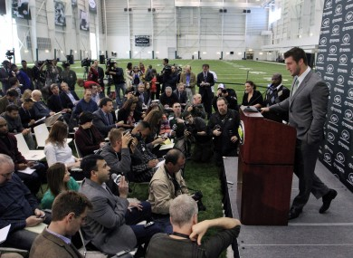 Tim Tebow holds his first news conference with the New York Jets yesterday.