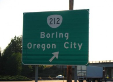 A road sign for Boring in the northwestern US state of Oregon