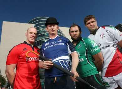 Paul O'Connell, Leo Cullen, John Muldoon and Johann Muller in Dublin for the Heineken Cup launch last year