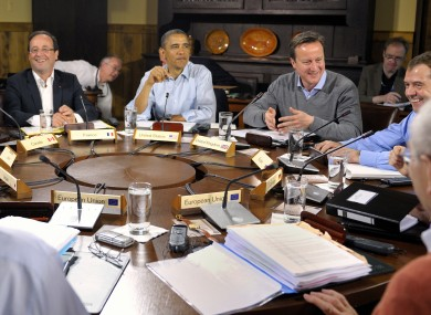 World leaders attend the first working session of the G-8 Summit at Camp David, Md,, Saturday, May 19, 2012