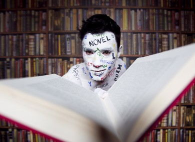Body painted Ray Lee spreads the word with some of the words from some of the 54 writers books that will feature at this years Dublin Writers Festival.