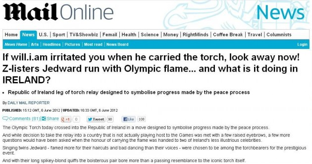 Mail Online article about Olympic torch in Ireland draws Twitter criticism