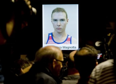 A picture of Luka Rocca Magnotta is shown during a news conference in Montreal last week
