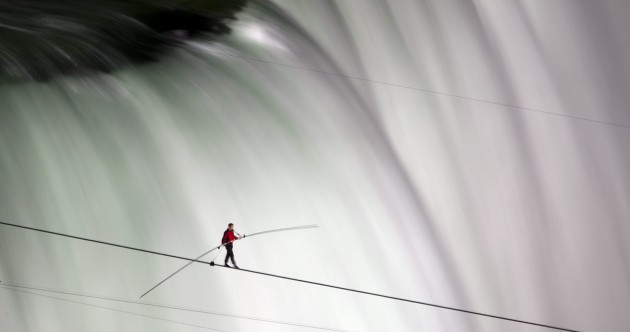 In pictures: Daredevil successfully walks tightrope across Niagara Falls