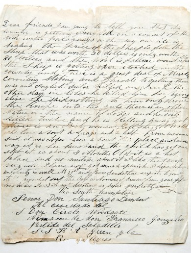 Read: An emigrant's letter home from Argentina… in the 1800s