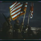 Original caption: Color guard of Negro engineers, Ft. Belvoir(?), [Va.]