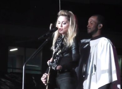 Madonna with umbrella man