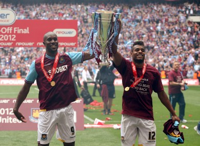 West Ham's Carlton Cole and Ricardo Vaz Te celebrate promotion back to the Premier League.