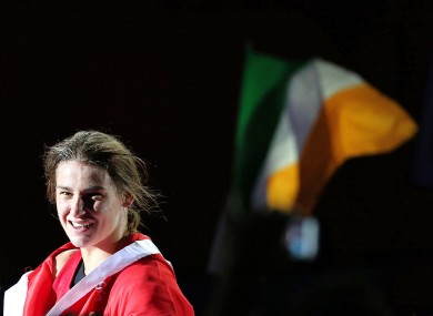 Katie Taylor in jubilant mood after her win at the ExCel Arena.