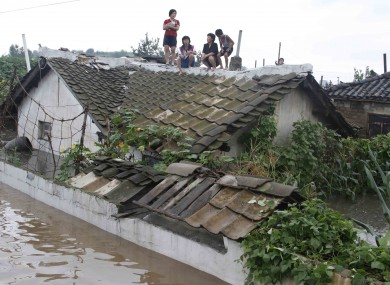 A flooded building in Anju City, South Phyongan Province in North Korea on 30 July.