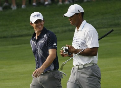 Face off: Rory McIlroy and Tiger Woods.