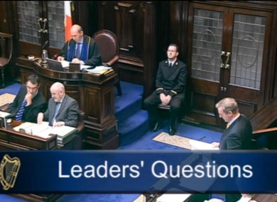 Proceedings during Leaders' Questions in the Dáil today.
