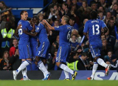 Chelsea's Ryan Bertrand (second from left) celebrates scoring his side's second goal with John Terry (left) and his other team-mates.