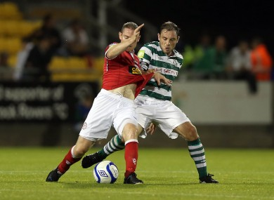 Shelbourne's Glenn Cronin shields the ball from Stephen Rice of Shamrock Rovers during the sides' meeting at Tallaght Stadium last week.