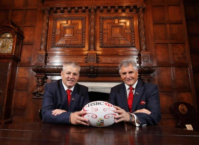 Lions head coach Warren Gatland and Tour Manager Andy Irvine at today's announcement.