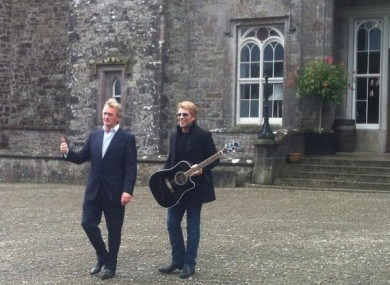 Jon Bon Jovi with Lord Henry Mountcharles at Slane Castle this morning