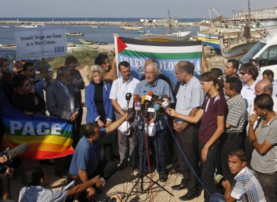 Noam Chomsky participates in a press conference held by the passengers of the 'Estelle' after their boat was intercepted by the Israeli navy.