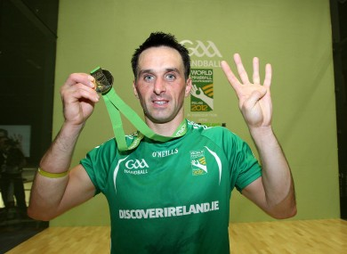 Ireland's Paul Brady celebrates after winning his fourth World Handball Championship.