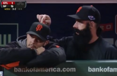 VIDEO: Brian Wilson doesn't get bored – he just pretends to play the organ on a team-mate's head