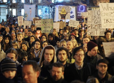 Protesters outside the Dáil on Wednesday night at a march for Savita Halappanavar