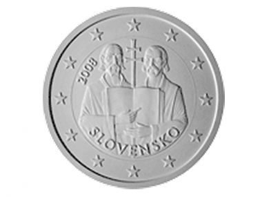 The original design of a potential coin with Saints Cyril and Methodius. A version including halos above both saints' heads has been vetoed by other Eurozone countries.