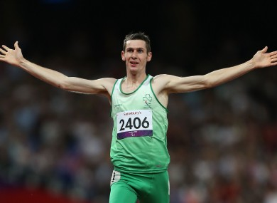 Ireland's Michael McKillop celebrates winning Gold in the Mens 1500m - T37 at the Olympic Stadium, London.