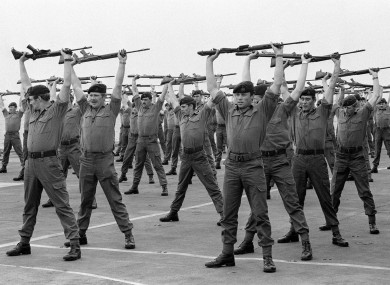 Members of A Company : 40 Royal Marine Commandos  on the deck of the carrier HMS Hermes as she heads south for the Falkland Islands with the British naval task force.