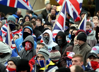Loyalists protesters in Belfast city centre protesting against new restrictions on flying the Union flag.