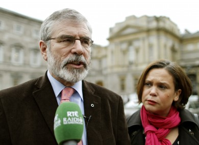 Gerry Adams with Sinn Féin TD Mary Lou McDonald