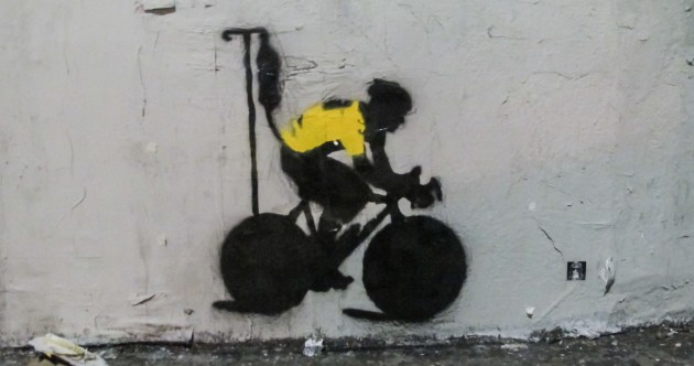 Lance Armstrong is still an inspiration to some people — like this Los Angeles street artist