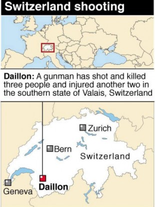 Graphic locates Daillon in Switzerland, scene of fatal shooting.
