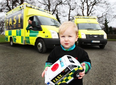 Karl Macken (2) helps launch a stroke awareness campaign last month.