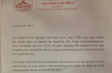 Dalai Lama sends letter offering 'good fortune' to Bradford ahead of League Cup final