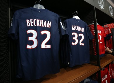 32 - The squad number that David Beckham wears for Paris Saint Germain. They'll probably sell more than 32 jerseys though.