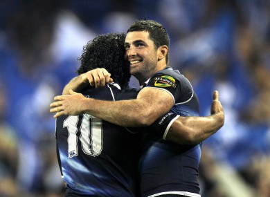Isa Nacewa and Rob Kearney embrace after a 2010 win over Munster.