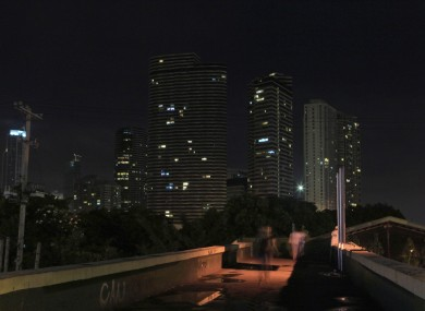 Few lights remain switched on for an hour in the financial district of Makati city, east of Manila in the Philippines, during last year's Earth Hour.