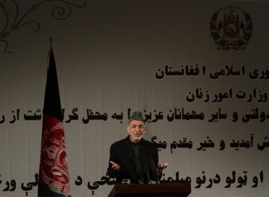 Afghan president Hamid Karzai speaks during a nationally televised speech today