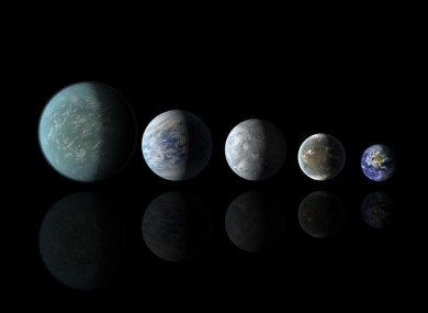 Relative sizes of Kepler habitable zone planets discovered as of 18 April 2013. Left to right: Kepler-22b, Kepler-69c, Kepler-62e, Kepler-62f, and Earth.