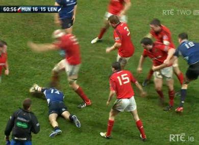 Paul O'Connell's boot connects with Dave Kearney's head.