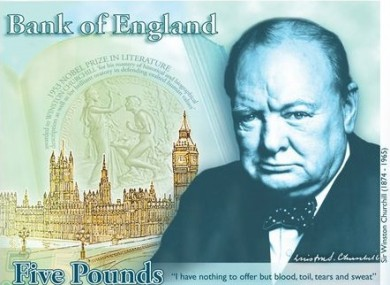 This computer generated image provided by the Bank of England Friday April 26, 2013, shows the concept design for the reverse of the new 5-pound note.