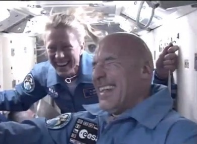 A happy crew arrive at the ISS