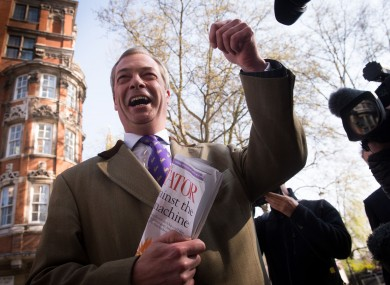 UKIP leader Nigel Farage arrives in Westminster this morning
